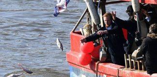 Υπέρμαχοι του Brexit πέταξαν τελάρα με ψάρια στον Τάμεση (vd-pics)