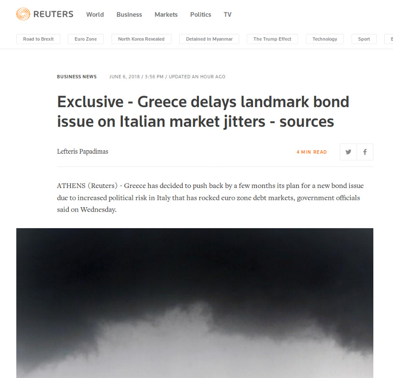 Reuters: «Η Ελλάδα δεν θα βγει στις αγορές»