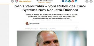 Handelsblatt για Βαρουφάκη: Από επαναστάτης του Ευρωσυστήματος, Ροκ – Σταρ οικονομολόγος»