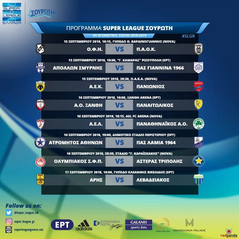 Super League : Το πρόγραμμα της 3ης αγωνιστικής - to10.gr