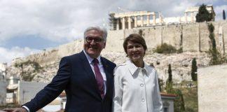 Αφίχθη ο πρόεδρος της Γερμανίας και η σύζυγός του (vd)