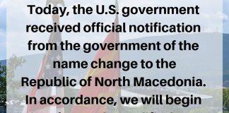 Οι ΗΠΑ ενημερώθηκαν επισήμως για την αλλαγή ονόματος της Βόρειας Μακεδονίας