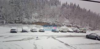 Χαλκιδική: Πυκνή χιονόπτωση στην Αρναία! (vd)